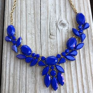 J Crew Royal Blue Chunky Glass Floral Necklace!